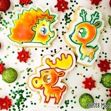 ciervo alce erizo trío invierno Galleta cortadores fondant prensa jardín Navidad animal animales horneando dibujos animados niños Galleta ciervo bosque niños dulce invierno color erizo