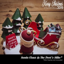 Père Noël claus cerf grève jardin Noël mini Père Noël diorama claus luge wekster joufflu