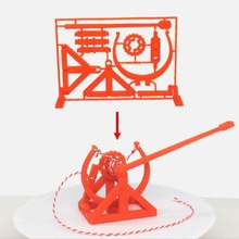 3d-printable davinci catapult gift card christmas mechanics catapult gears gift mechanical spring toy davinci birthday gift christmas christmas gift completely printable model kit gift card birthday gift-card kit card kit model presesnt