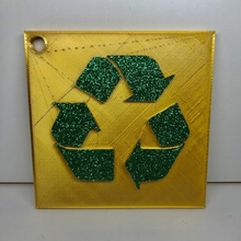 recycle sign wall desk display keychain arrows art decoration keychain earth recycling recycle wallhanger signs save reuse preserve glitter earthday
