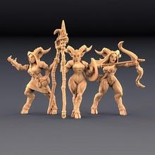 sátiro senhoras 3 unidades amazonas kickstarter tampo mesa dragões masmorras figura floresta senhora mini miniaturas selvagem madeira miniatura sátiro minis Amazonas senhoras dnd descobridor sátiros artesão
