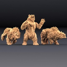 giant bears - 3 units amazons kickstarter tabletop animal bear beast dragons dungeons figure forest giant mini miniatures wild wood miniature shape monsters minis pose wargame dnd pathfinder druid bears shapeshifter artisan guild shift poses
