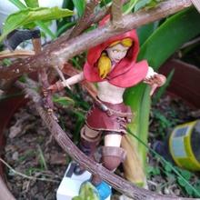batalla rojo montando capucha anatomía hacha fantasía bosque niña rojo estatua dlp cuento hadas monstruo cazador monter Caperucita Roja