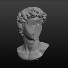 faceless david bust broken bust david greek roman sculpture statue michelangelo cyberpunk remix faceless vaporwave outrun