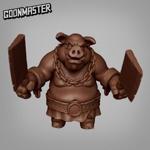 pig man - butcher tabletop creature fantasy master medieval mini minion monster orc pig rpg miniature enemy tabletop dungeon dnd folk pathfinder hog butcher goon hogfolk