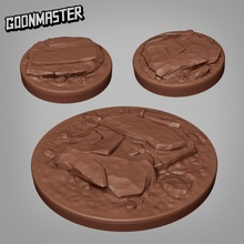 rocky bases - 25mm 50mm bases tabletop master mini miniatures base tabletop 50mm rocks dnd bases 25mm dirt goon goonmaster
