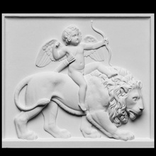 aşk tanrısı binme aslan taramak aslan heykel çocuk mermer çıplak aşk tanrısı Rahatlama binmek neoklasik high relief Thorvaldsen Artec Openglam artec eva