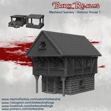 medieval scenery - harbour house & market stalls tabletop building house terrain d&d market harbbour stalls