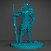 knight miniature 3d print model store 3d anime fantasy fdm game helmet knight model sci-fi toys videogame character guardian 3dprint minuature worrior sward middleages