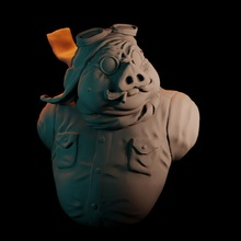 porco rosso bust bust ghibli sculpt obj fanart blender porco anycubic photon rosso