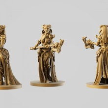 madera tríada mesa duende hembra niña mago mujer madera personaje mago miniatura sacerdote juego mesa cuento guardabosque orejas hada duende clérigo druida hechicero tríada