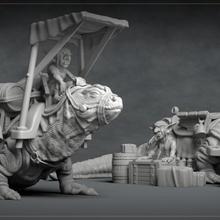 goblin merchant - 3d printable character - 2 poses 3d print model tabletop 3d print printable armour creature dragon dragons dungeons figure goblin helmet lizard model statue dnd merchant pathfinder market npc komodo