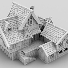 medieval artisan hall 3d printable building fantasy interior medieval terrain hall brewery tabletop bakery d&d scenery market profession artisan