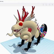 dimensione Drago stl Drago mitico colorato semi realistic