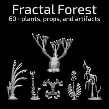 fractal forest collection - plants props artifacts tabletop terrain props fractals plants trees aliens flora 28mm 32mm mushrooms skeletons artifacts