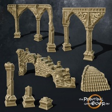 ruins scatter terrain - supportless column fantasy medieval rpg terrain wargaming warhammer lotr supportless stairs tabletop ruins 28mm dnd frostgrave scatter terrain skirmish ruin scatter