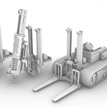 Bitte Mehrzweck Nützlichkeit verfolgt Plattform industriell Rollenspiel Fahrzeug Wargaming Kriegshammer scifi Tischplatte bohren Spur Landschaft Presse Gabelstapler