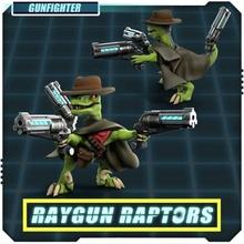 raygun raptors gunfighter tabletop army dino dinosaur jurassic mini wargaming warhammer miniature tabletop revolver velociraptor wargame raygun raptor western gunslinger gunfighter sixhooter pistolero