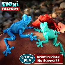 cute flexi print-in-place frog store print toy links bull flexable posable articulated frog printinplace flexi factory place linkage toad flexy printin sopala flexydan