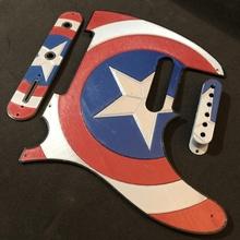 capitaine Amérique bouclier graphique aile télécaster éducation casquette guitare merveille musique Roche bandes dessinées films guitares aile blues télécaster guitariste