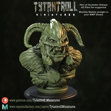 orc chief helmet bust pre-supported bust creature fantasy helmet miniatures orc ork chief miniature dnd greenskins