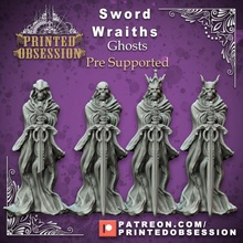sword wraiths x4 - undead sword masters - pre supported -32mm scale - d&d store 3d 40k creature dragons dungeons fantasy game gaming hell kickstarter king mini monster  printing rpg support sword undead warhammer rings miniature lord witch mars lotr printed wraith tabletop
