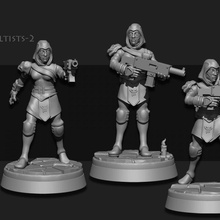 cultists elite female miniature scifi tabletop wargame elite foundry cultists gang sarks