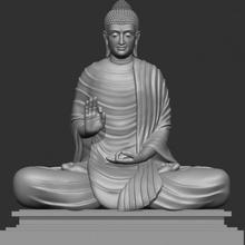 sentado Buda 3d impressão modelo arte Buda Deus meditação Paz escultura religião budista harmonia