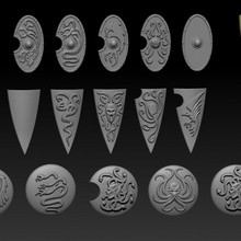 fantasía griego romano escudos juguetes juegos duende fantasía duende Caballero orco proteger martillo guerra enano infantería 28mm dnd saga escudos ninthage juramento