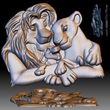 dessin animé Lions famille 3d modèle bas relief cnc routeur 3d imprimante 3d imprimable imprimante dessin animé cœur Lion l'amour forme famille soulagement bas relief routeur Lions cnc