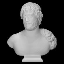 ritratto fallimento imperatore Adriano scansione testa uomo metà corpo