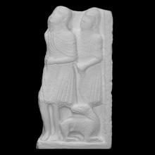 fragmentos representación natividad escanear Jesús escultura caliza Biblia escena alivio Joseph pastores