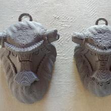 colosso ventilador pendente 3d impressão arte modelo ventilador esculpir sombra pendente colosso cinzento