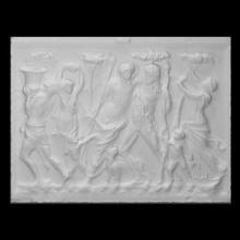 bêbado Dionísio sátiros mênades Varredura antigo fêmea Deus mármore figuras masculino cena sátiro alívio mito Dionísio divino mênades
