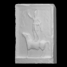 carved stone slab man standing horse scan man stone horse  standing slab museo carved maffeiano lapidario