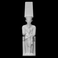 estátua amun Horemheb Varredura coroa escultura estátua sentado amun Horemhab