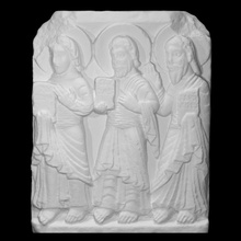 relief saints philip jude bartholomew scan architecture christianity decoration sculpture religion limestone relief spain saint saints high-relief philip entrance bartholomew jude