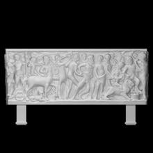 sarcófago representação bêbado Hércules juntando Dionísio procissão Varredura álcool Deus herói mitologia mármore Hércules morte centauro morto sarcófago cobras fotogrametria celebração Nápoles Nápoles high relief Dionísio procissão
