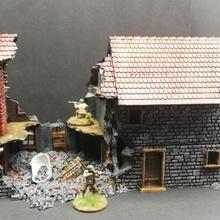 détruit maison 1 xviii xx période table maison ww2 diorama jeu guerre Empire paysage ruiner détruit