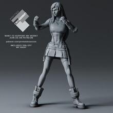 tifa Lockhart combate postura final fantasía 7 rehacer 32cm modelo lindo fantasía hembra combatiente niña bloquear 7 final rehacer falda Boxer golpear ff7