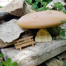 mushroom house miniature green book decoration  nature miniature natural color decor creation deco jardin maison champignon ext rieur banch imaginaire