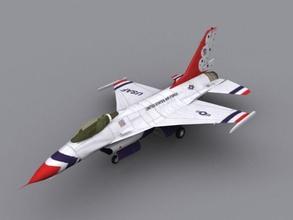 f16-thunderbird game model 16 aerobatic air aircraft airplane airshow b brigitte display f f16 falcon fighter game jet lower military model plane poly show sport team thunderbird usaf
