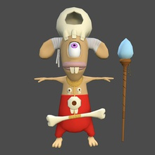 truccate personaggio dei cartoni animati sciamano 3d animazione corpo bond314bond cartone animato carattere fantasia umana più in basso lowpolygon una mappa max modello normale poli poste rig sciamano pelle t tpose