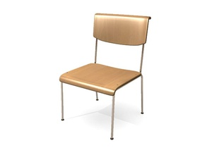 simple classroom chair back chair chrome classroom fictionalhead full furnished furnishings furniture interior metal model seat simple wood