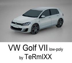 vw golf vii low-poly 7 coche juego el golf gti inferior modelo poli deporte termixx vehículo vii volkswagen vw