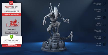 alien xenomorph diorama 3d printing assembly alien, covenant, prometheus, scifi, ellen ripley, queen, extraterrestrial, facehugger, ovomorph, the perfect organism, predator, yautja, USCSS nostromo, chestburster, drone, xenomorph, proteus, xx121, prime, diorama, alien figure, alien figurine, alien model, alien miniature, 3d model, 3d printing, stl files, horror