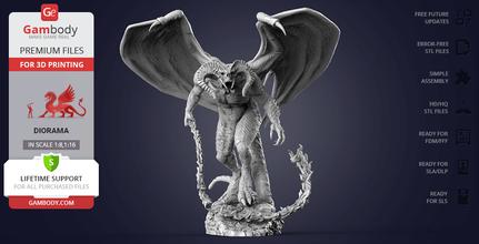 balrog 3d printing figurine diorama assembly balrog, maiar, sauron, melkor, demon, durin, durin's bane, misty mountain, moria, gandalf, zirakzigil, eru iluvatar, balrog figurine, balrog model, balrog figure, john, ronald, reuel, tolkien, 3d printing, stl files, diorama, horror