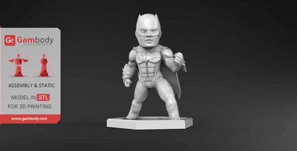 chibi batman 3d printing miniature assembly batman, batman 3d miniature, batman 3d, batman figure, batman model, batman dc, dc, dc comics, league of justice, dc hero, dc movie, batman 3d model, batman 3d download, batman 3D figure, chibi batman, chibi, comics