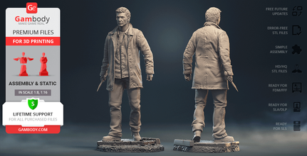 dean winchester 3d printing figurine assembly dean winchester, dean, the winchesters, winchester brothers, winchesters, chevrolet impala ss 1967, chevrolet impala, horror, the impala, impala, baby, action, tv series, assembly, jensen ackles, supernatural, hero, dean winchester model, dean winchester figurine, dean winchester miniature, dean winchester figure, dean model, dean figurine, dean miniature, dean figure, 3d printing, stl files