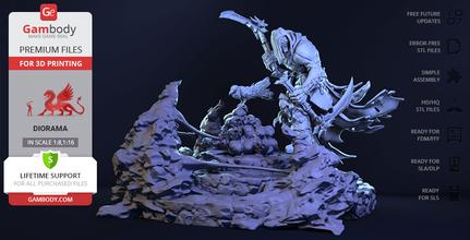 death 3d printing figurine diorama assembly death, dust, darksiders, darksider, horseman, nephilim, abasalom, apocalypse, despair, abominations, angels, demons, human, lilith, death figurine, death figure, death miniature, diorama, death model, 3d printing, stl files